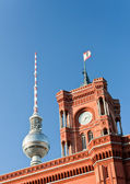Berlin City Hall and television tower — Stock Photo