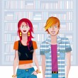 Stock Vector: Teen CaucasiCouple In Library