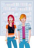 Teen Caucasian Couple In A Library — Stock Vector