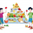 Stock Vector: Kids and Food Guide Pyramid