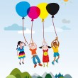 Stock Vector: Children Flaying With Balloons