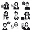 Stock Vector: Working Women Faces Set Black and White