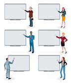 Business People and Empty Interactive Whiteboards — Stock Vector