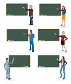 Teachers and Empty Blackboard — Stock Vector
