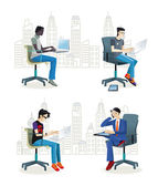 Men Sitting in the Office — Stock Vector