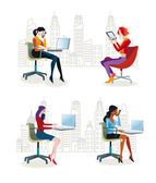 Women Sitting in the Office2 — Stock Vector