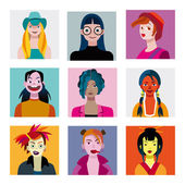Teenagers Girls Avatars Set — Stockvektor