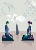 Couple Practicing Zen Meditation — Stock Vector