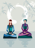 Two Women Meditating — Stock Vector