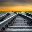 Stock Photo: Railroad at sunset