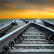Railroad at sunset - Stock Photo