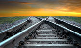 Railroad at sunset — Stock Photo