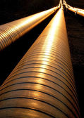 Pipelines in evening light — Stock Photo