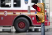 Traffic light with fire engine — Stock Photo
