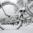 Royalty-Free Stock Photo: Bikes in rack in winter