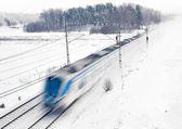 Treno nella neve — Foto Stock