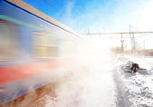 Train in winter — Stock Photo