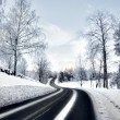 Winding road in winter — Stock Photo
