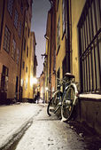 Bike in Stockholm old town — Stock Photo