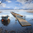 Boat in early spring - Stock Photo