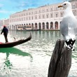 Gondola with gondolier — Stock Photo