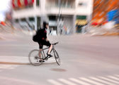 Cyclist in city — Стоковое фото