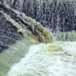 Stock Video: Dam with fast moving water