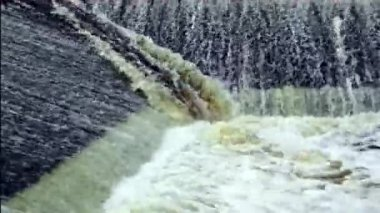 Dam with fast moving water — Stock Video