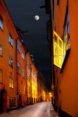 Stockholm street in moonshine — Stock Photo
