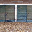 Garage doors  in autumn — Stock Photo