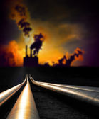 Pipelines and factory — Stock Photo