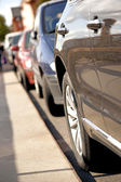 Row of parked cars — Stock Photo