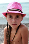 Summer little girl outdoor portrait — Stock Photo
