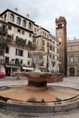 Statue of the Madonna in Piazza Erbe Verona, Italy — Stock Photo