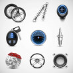 Car parts vector icon set — Stock Vector