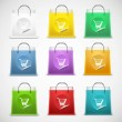 Shopping bag vector icon set isolated — Stock Vector