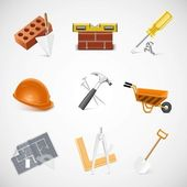 Building and construction detailed vector icon set — Stock Vector