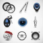Pièces de voiture vector icon set — Vecteur