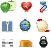 Fitness vector icon set — Stockvector