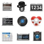 Radio station vector icons — Stock Vector