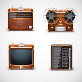 Electrónica vintage vector iconos — Vector de stock