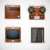 Vintage electronics vector icons — ストックベクタ