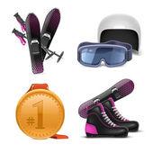 Winter sports vector icon set — Stock Vector