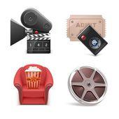 Conjunto de iconos de vector de cine — Vector de stock