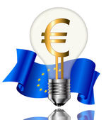 Bulb with euro sign — Stock Vector