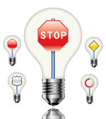 Bulbs  with different traffic signs — Stock Vector
