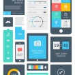 UI is a set of beautiful components featuring the flat design trend - Stockvektor