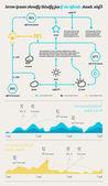 Elemente der Infografiken mit Schaltflächen und Menüs — Stockvektor