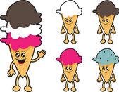 Ice Cream Characters — Stock Vector