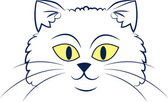 Cat Face Outline — Stock Vector